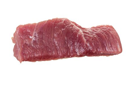 Single raw meat piece of pork or beef isolated on white background