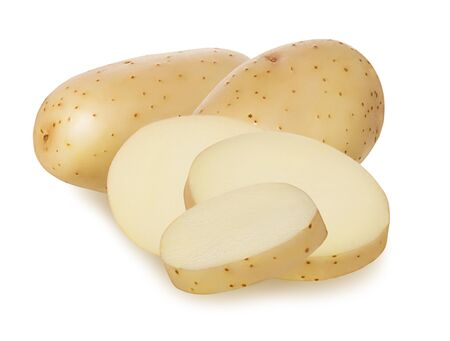 Whole fresh raw potato and cut potatoes slice isolated on white background with shadow