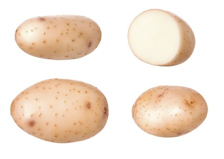 Three whole fresh raw potatoes and  slice of half potato isolated on white background with clipping path