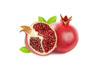 Pomegranate fruit half with bright grains isolated on white background with a shadow Stok Fotoğraf