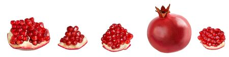 Pomegranate grains, slices and whole fruit isolated on white Stok Fotoğraf