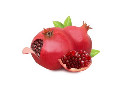 Pomegranates with red grains and green leaves isolated on white background