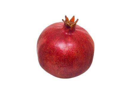 Ripe red pomegranate fruit isolated on white background