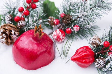 Bright ripe pomegranate fruit with fir branch on white snow, Christmas holiday background Stok Fotoğraf