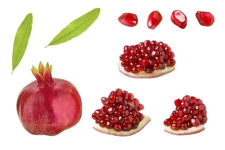 Pomegranate fruit isolated. Set of whole pomegranate, segments, leaves and grains isolated on white background