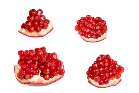 Pomegranate slices with juicy grains isolated on white background Stok Fotoğraf