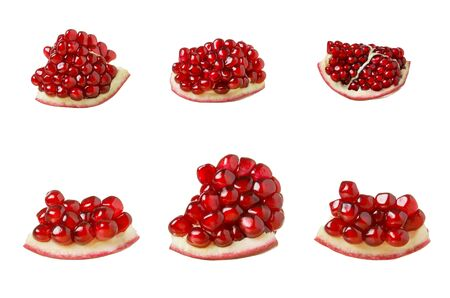 Pomegranate fruit slice set isolated on white background, red pomegranate pulp with grains, close up Stok Fotoğraf