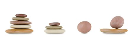 Set of stack SPA hot multicolor wet stones isolated on white background
