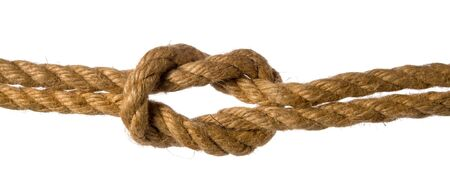Sea knot tied on hemp or jute rope isolated on white background Banque d'images
