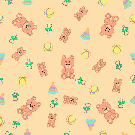 babys dummies: seamless pattern with bears, piramodka, balls and babys dummies (pacifiers), can be used for wallpaper, pattern fills, web page background,surface textures, textiles, cards, postcards. Illustration