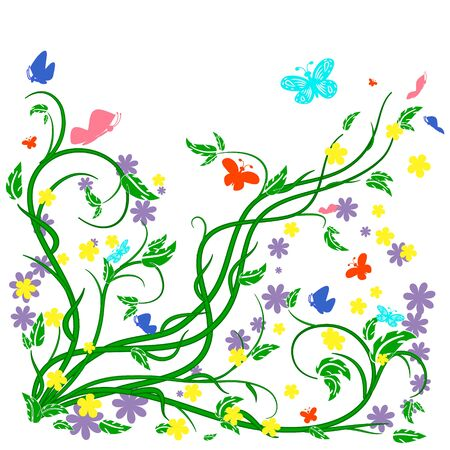 decoupage: Colored butterflies and flowers with abstract swirls on a white background. Can be used as a background, decor, decoupage, textile, invitation.