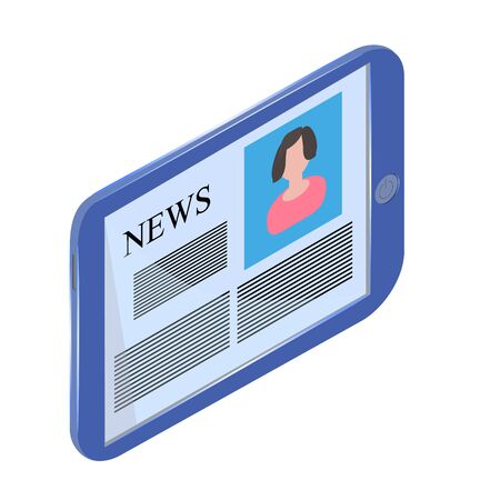 anchorman: Generic blue tablet PC on a white background. Ancorman and news. Illustration