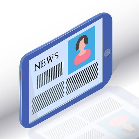 News on generic Tablet PC. Ancorman and news. Illustration