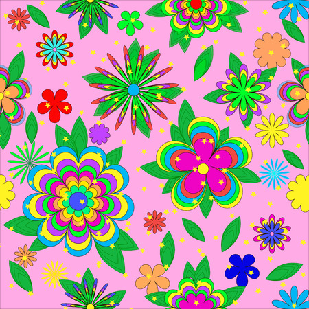 pink wallpaper: Childrens cartoons summer pattern with flowers, leaves  and stars on pink background, can be used for wallpaper, pattern fills, web page background,surface textures.