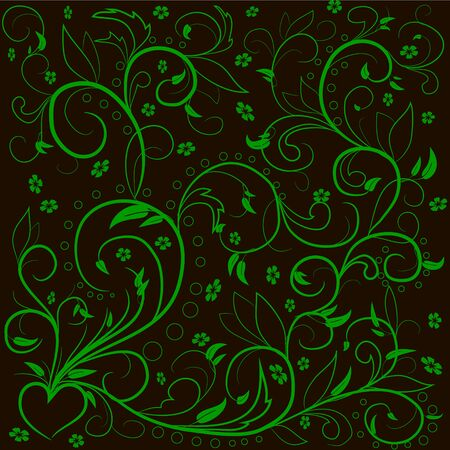 decoupage: Green leaves with abstract swirls, leaves, flowers and hear? on a black background. Can be used as a background, decor, decoupage, textile, invitation. Illustration
