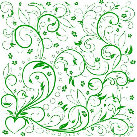 decoupage: Green leaves with abstract swirls, leaves, flowers and hear? on a white background. Can be used as a background, decor, decoupage, textile, invitation.