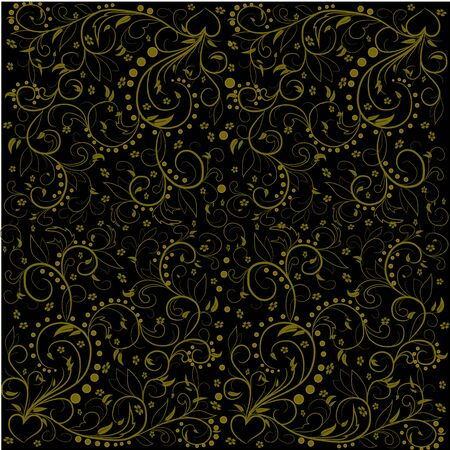 decoupage: Pattern with golden leaves, abstract swirls, leaves, flowers and heart on a black background. Can be used as a background, decor, decoupage, textile, invitation.