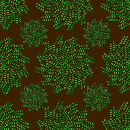 decoupage: Abstract seamless pattern with green leaves on brown background. Can be used as a background, decor, decoupage, textile, invitation.