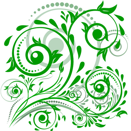 decoupage: Green leaves with abstract swirls, leaves on a white background. Can be used as a background, decor, decoupage, textile, invitation. Illustration