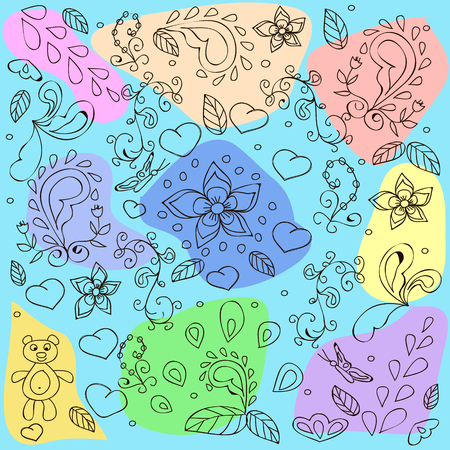 Abstract pattern with flowers, hearts, swirls on ayellow background,  can be used for wallpaper, pattern fills, web page background,surface textures