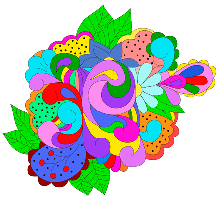 Abstract design element with colorful swirls, leaves, can be used web, design, walpapper, textole, texture. Ilustrace