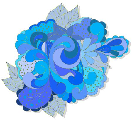 Abstract design element with blue swirls, leaves, can be used web, design, walpapper, textole, texture.