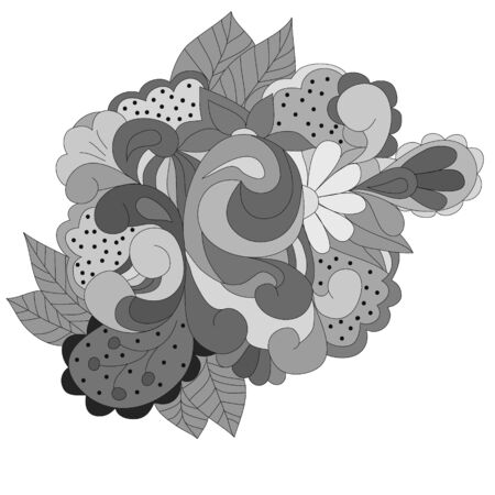 Abstract design element with gray swirls, leaves, can be used web, design, walpapper, textole, texture.