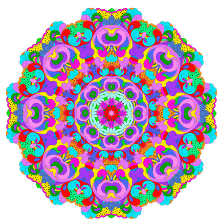 Ornamental round organic pattern, circle colorful  mandala  with many details on white background. ?rnament can be used for wallpaper, pattern fills, background,surface textures,  round ornamental natural doily pattern, mandala.