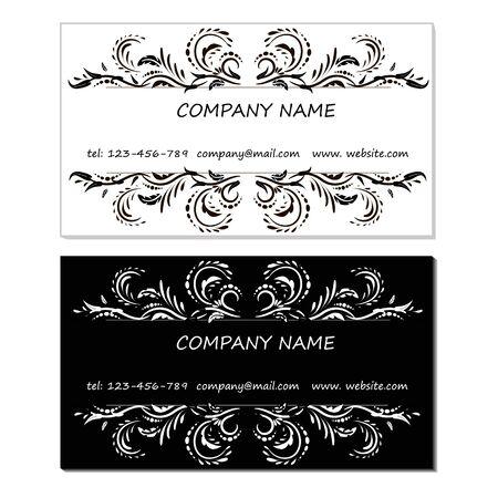 Set Business card. Vintage decorative elements. Hand drawn background.