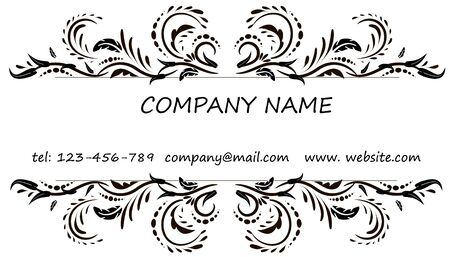 blank template: Business card. Vintage decorative elements. Hand drawn background. Illustration