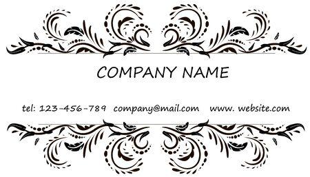 model motive: Business card. Vintage decorative elements. Hand drawn background. Illustration