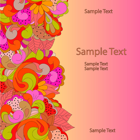 Flat style vector illustration with flowers, swirls and leaves. Bright romantic backgrounds. This image can be used for a greeting card, valentine or the wedding invitation. Ilustrace