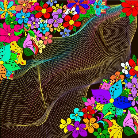 Moving colorful lines of flowers  background. Abstract flowers background for design, can be  used for wallpaper, pattern fills, web page background,surface textures, textiles.