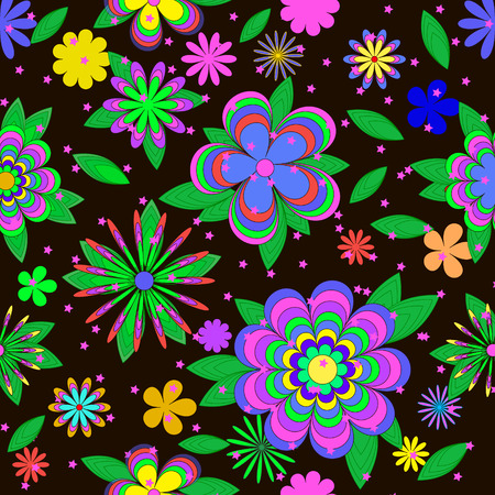 Childrens cartoons summer pattern with flowers, leaves and stars on brown background, can be used for wallpaper, pattern fills, web page background,surface textures.