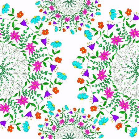 Seamless pattern with flowers, sprigs and curls, can be used for wallpaper, pattern fills, web page background,surface textures. Ilustrace