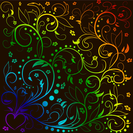 Rainbow leaves with abstract swirls, leaves, flowers and hear? on a black background. Can be used as a background, decor, decoupage, textile, invitation.