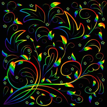 Rainbow leaves with abstract swirls on a black background. Can be used as a background, decor, decoupage, textile, invitation. Ilustrace