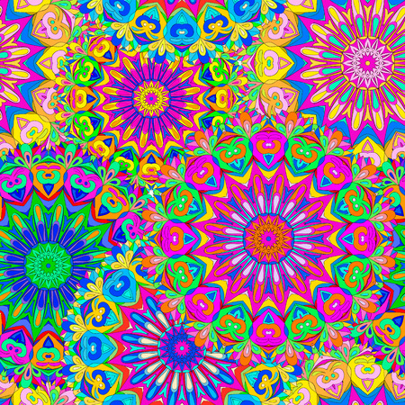 Colorful seamless pattern mandala, can be used for wallpaper, pattern fills, web page background, surface textures. Arabic, Indiam, Islam. Ilustrace