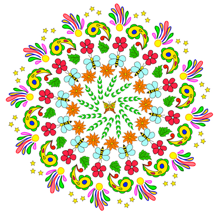 Abstract mandala with flower, bee, curls and leaves on white background. Can be used as a background, decor, decoupage, textile, invitation, wallpaper, pattern fills, web page background,surface textures Ilustrace