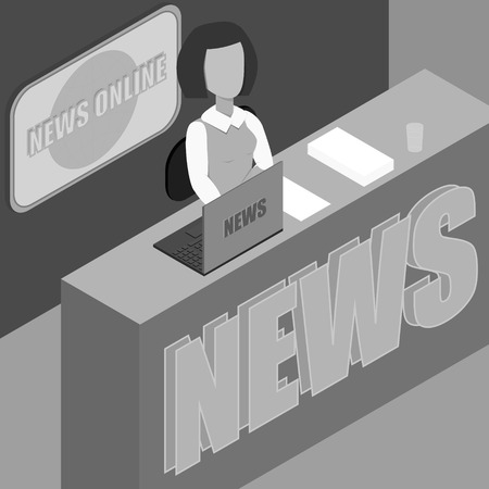 Latest news. Silhouette of the news announcer . The news anchor womanr in the Studio. Vector illustration. Anchorman  in grayscale
