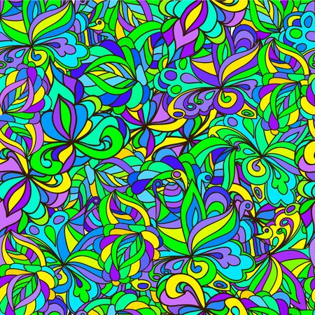 Seamless pattern with  swirls and leaves, can be used for wallpaper, pattern fills, web page background,surface textures,  textiles, cards, postcards