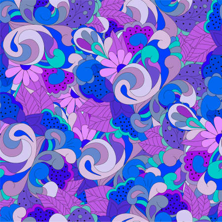Seamless pattern with  blue and purple swirls, flowers and leaves, can be used for wallpaper, pattern fills, web page background,surface textures,  textiles, cards, postcards