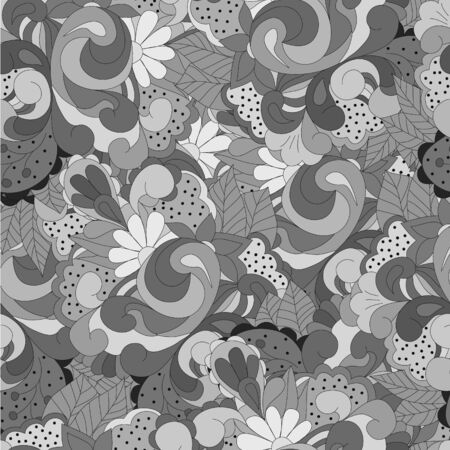 Seamless pattern with gray swirls, flowers and leaves, can be used for wallpaper, pattern fills, web page background,surface textures,  textiles, cards, postcards Ilustrace