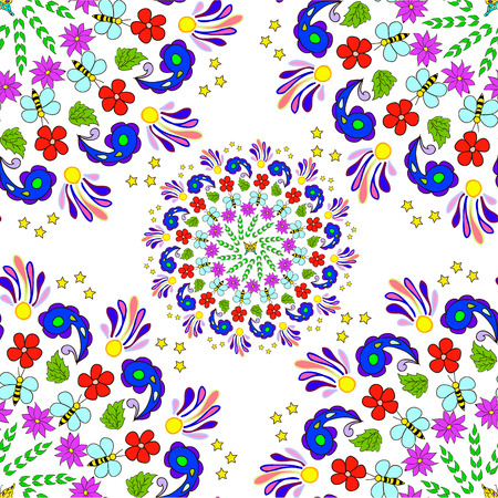 Childrens seamless summer pattern mandala with flowers, leaves and bees on white background, can be used for wallpaper, pattern fills, web page background,surface textures.