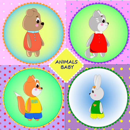 Emblem cards with cute cartoon Animals, can be used for wallpaper, design, card, invitation.