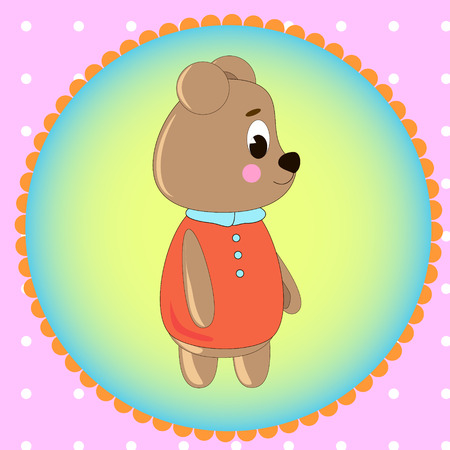 Emblem card with cute cartoon Bear, can be used for wallpaper, design, card, invitation.