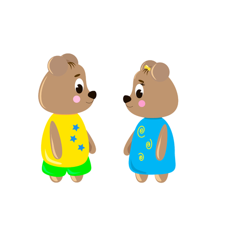 Two cute cartoon Bear on a white background, can be used for wallpaper, design, card, invitation. Ilustrace