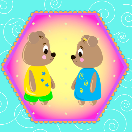 Emblem card with cute cartoon Bears, can be used for wallpaper, design, card, invitation.