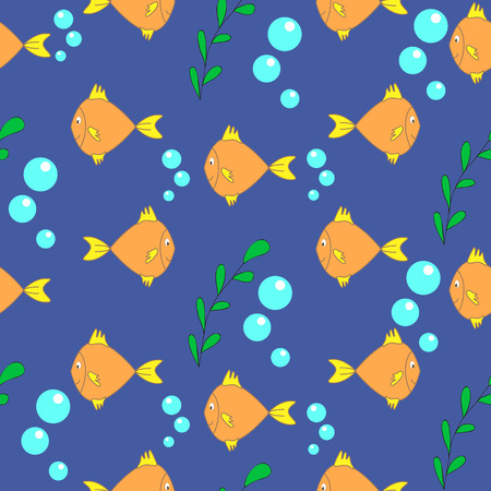 Seamless  background withorange fish, can be used for wallpaper, design, card, invitation, decoupage. Ilustrace