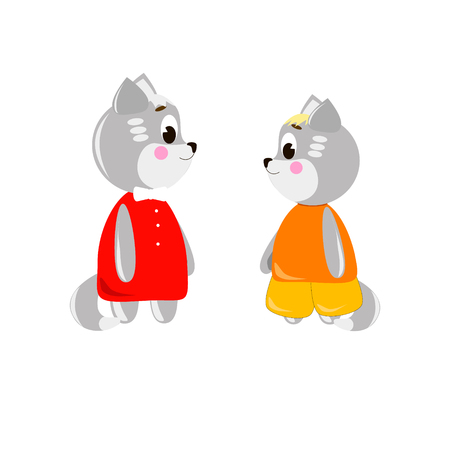 Two cute cartoon Cats on a white background, can be used for wallpaper, design, card, invitation.